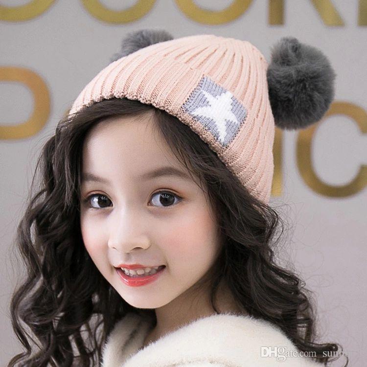 40d805a46c0 2019 New Autumn Winter Cute Baby Children Hat Kids Knitted Cap Wool Ball  Star Girls Boys Warm Beanies Child Babies Hats M184 From Sunbb03