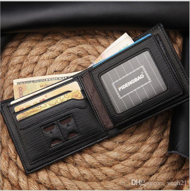 New style men's brand designer leather luxury purse wallet short cross high quality wallets for men