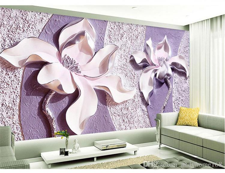 Arkadi 5d Custom Any Size Mural Wallpaper 3D Relief Purple Magnolia Bedroom TV Background Wall Paper Home Decor Living Room Wall Covering