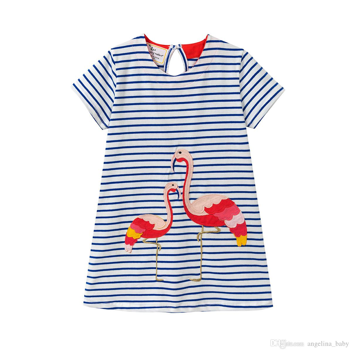 0cee2515 2019 Baby Girls Dress Flamingo Fashion Embroidered Dresses 2018 New INS Kids  Striped Dress Toddler Clothing Children Clothes From Angelina_baby, ...