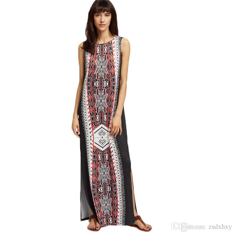 25b920fe4 Mulheres 2018 Vestido de Alta Fashionnova Algodão De Linho Das Mulheres de  Verão Vestido Longo para a Festa de Roupas Hippie Maxi Robe Dividir Mulheres  Plus ...