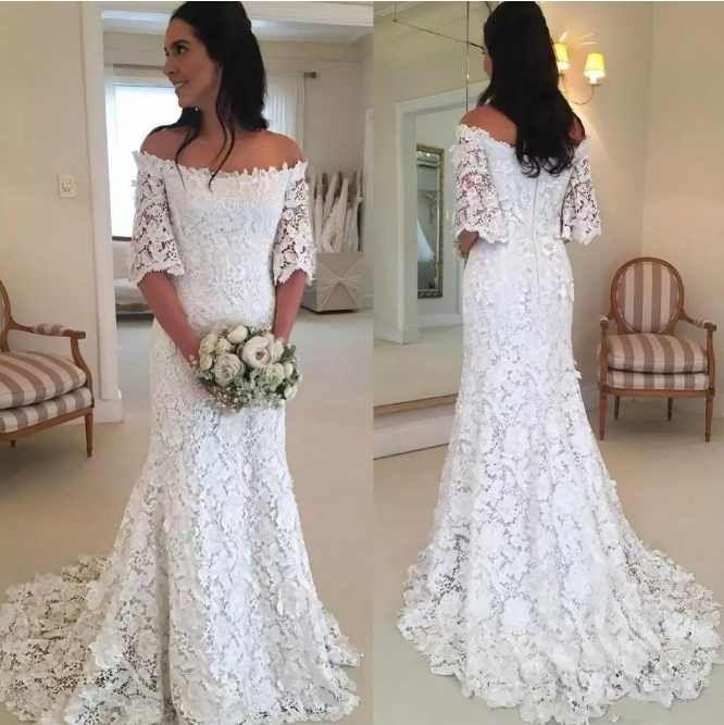 890c9b436bd Simple Elegant Mermaid Wedding Dresses Off Shoulder Half Sleeve Lace  Appliques Fashion Bridal Dresses Zipper Back Graceful Wedding Gowns Summer  Wedding ...