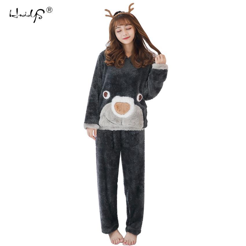 2019 2018 Winter Thick Warm Flannel Pajama Sets Cartoon Pyjamas Women  Homewear Animal Sleepwear Female Pajama D18110501 From Lizhang02 8542de346