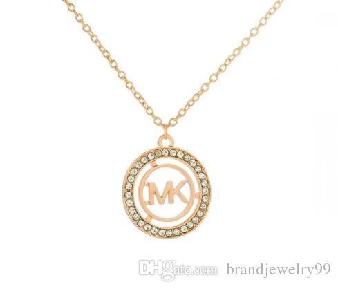 743f5ec6e09 2019 Women Fashion Hollow Letters Pendant Necklace 14K Gold Letters M  Clavicle Chain Crystal Rhinestone Necklace Party Jewelry Accessories From  ...