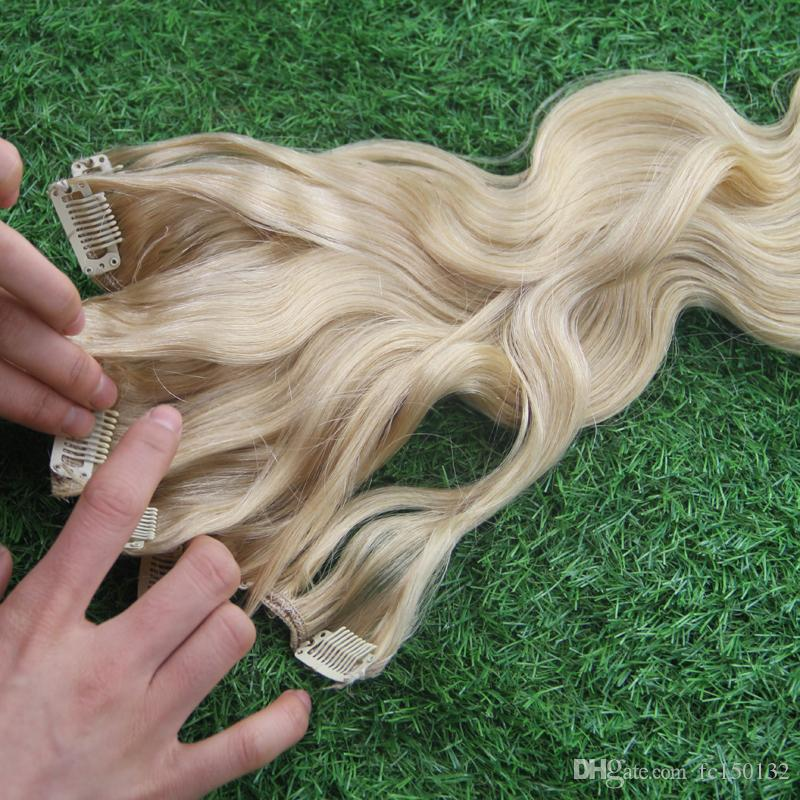 /Pack 613 Bleach Blonde Brazilian Machine Made Remy Body Wave Clips In Human Hair Clip In Extensions