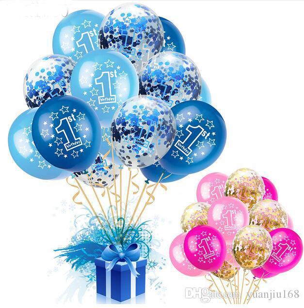 Baby Shower Boy Mädchen Latex Ballons Konfetti Set 1 Geburtstag Party Dekoration Kinder Happy Birthday Ballon 1 Jahr Ga565