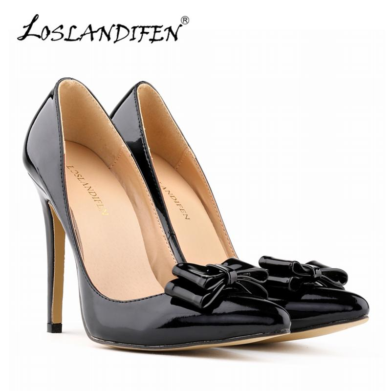 d3d936ffd395 LOSLANDIFEN Fashion Patent Leather Women S Pumps Sweet Cute Bow Pointed Toe High  Heels Shoes Stiletto Pump Wedding Shoe Woman 302 19PA Flat Shoes Online ...