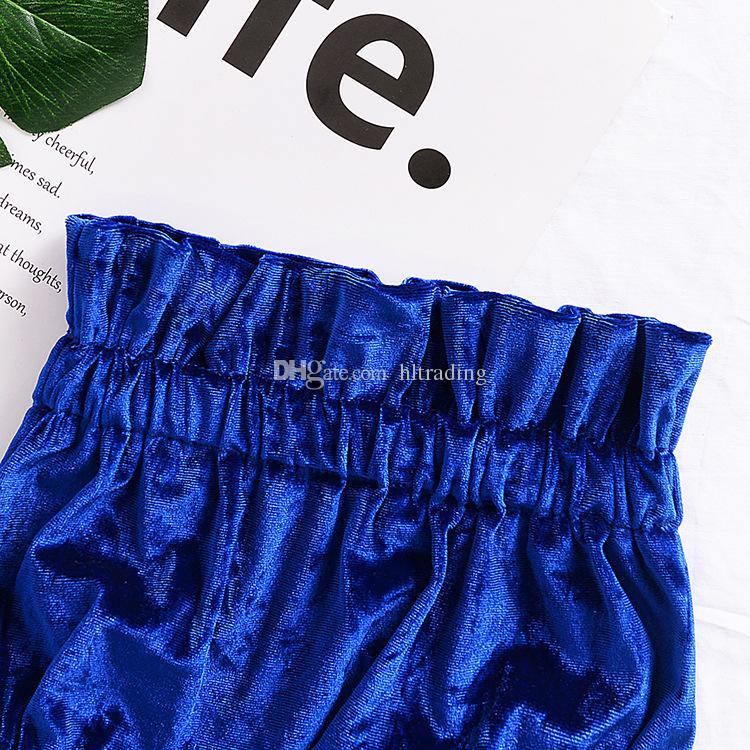 Baby Lotus leaf collar outfits INS Gold velvet Off Shoulder top+shorts 2018 fashion kids Boutique clothing sets C3586