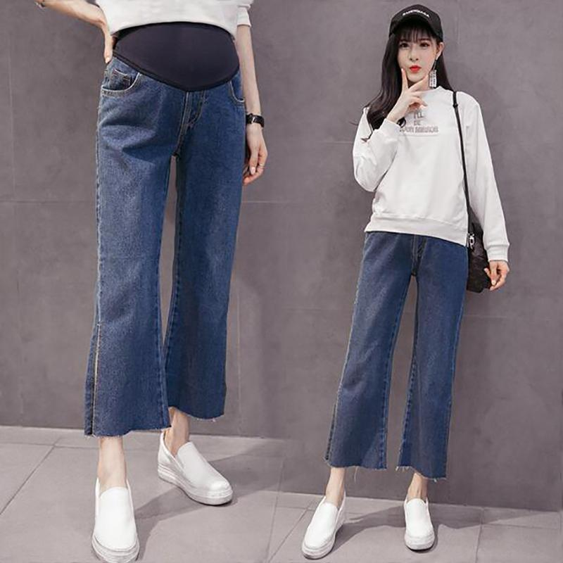 98555068410ea 2019 Pregnant Jeans Maternity Wide Leg Split Trousers For Pregnant Women  Belly Pants Loose Overalls Pregnancy Clothing Straight Pants From  Ouronlinelife, ...