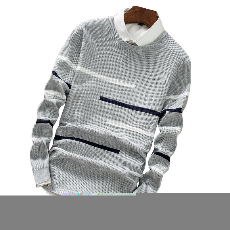 2018 Autumn Winter Wool Striped Sweater Mens Brand Casual Blue Male