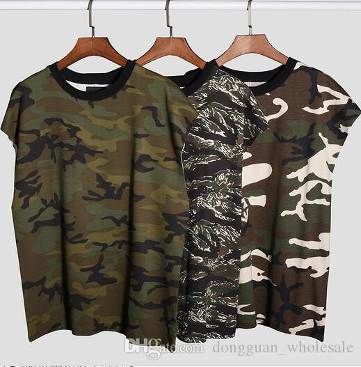166287dc1fc7f7 2019 Summer Style Women Men Military Camouflage Sleeveless T Shirts Vest  Hiphop Streetwear Men Cotton Camo T Shirt From Dongguan wholesale