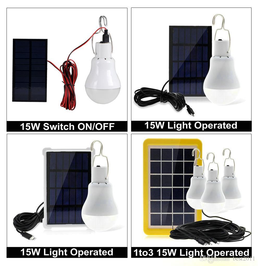 USB Güneş Enerjisi Açık Işık 15 W Solar Lamba Taşınabilir Ampul Enerji Lambası Led Aydınlatma Güneş Paneli Kamp Çadır Balıkçılık Işık
