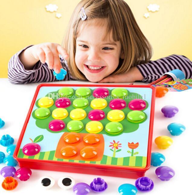 All'ingrosso-nuovo Creativo Mosaico Regali giocattolo Bambini Nail Composite Picture ceative Mosaico Fungo Nail Kit Puzzle Giocattoli pulsante art