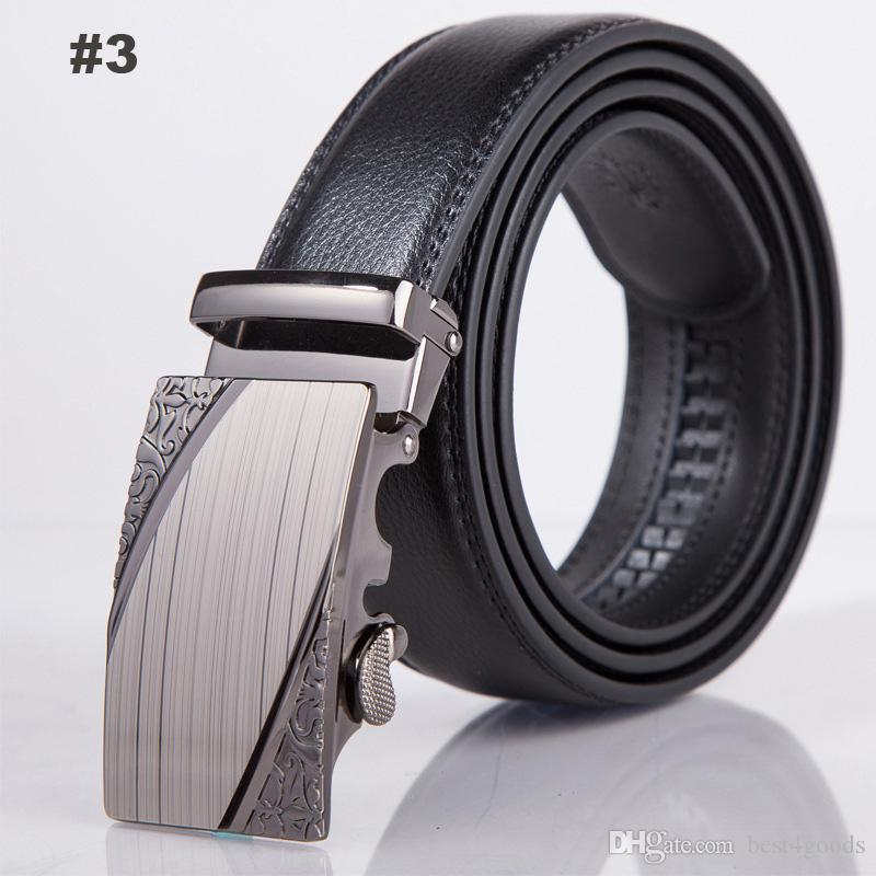 Fashion Mens Automatic Buckle Belt for Man Leather Belts Ratchet Cowhide Leather Strap Metal Belts Waistband Leisure