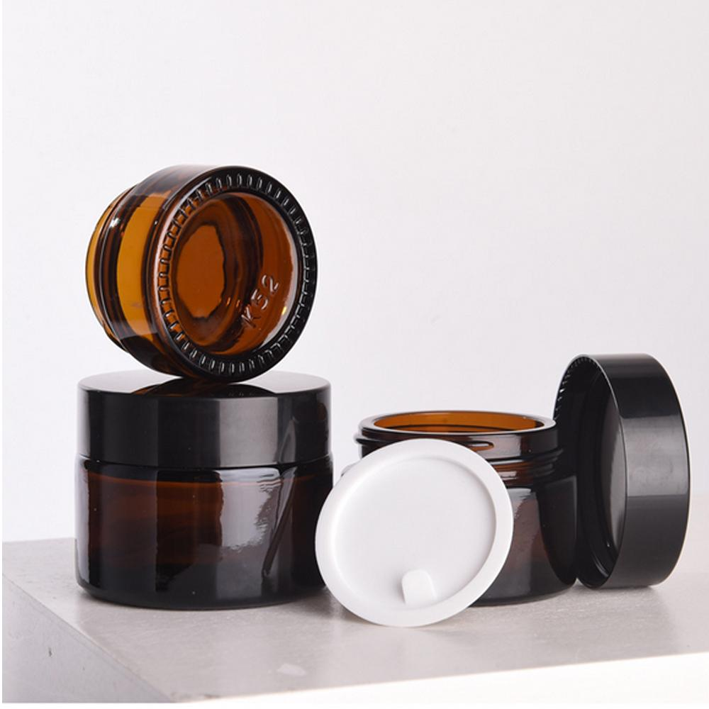 5g 10g 20g 30g 50g Brown Amber Glass Jar Pot Skin Care Cream Refillable Bottle Cosmetic Container Makeup Tool With Black Lid For Travel Pack