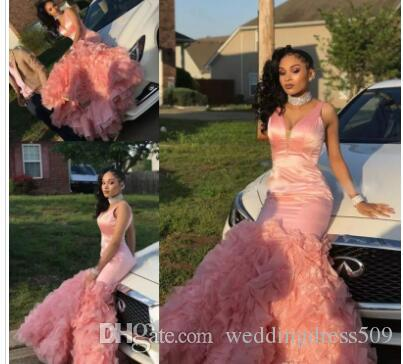 Beautiful Pink Mermaid Prom Dresses 2018 New Tiered Ruffles Black Girls maniche lunghe da sera usura del partito abiti personalizzati Made Cheap