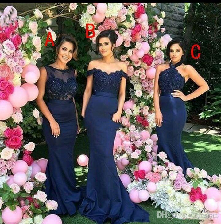 Navy Blue Bridesmaid Dresses 2018 Elegant Mixed Styles Dresses For Maid of Honor Custom Made Evening Gowns Long Prom Wedding Guest Dress