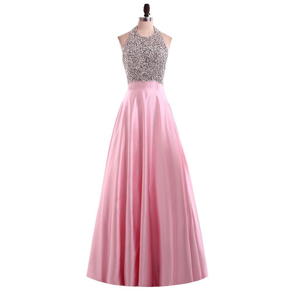 Großhandel Halter Rosa Abschlussball Kleider Wulstige Pailletten Perlen  Backless Satin Lange Abendkleider 17 Preiswerte Partei Formale Kleider  China
