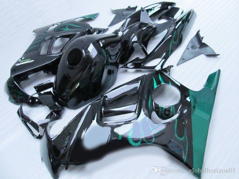 ABS Fairing kit for HONDA CBR600F3 97 98 CBR600 F3 CBR 600F3 1997 1998 CBR 600 Green flames black Fairings set+7gifts HL10