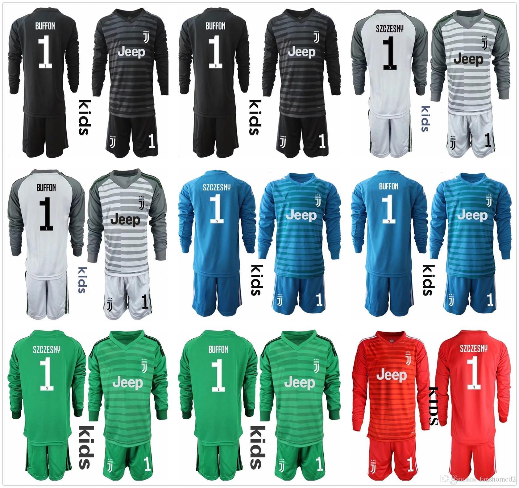 2cbf7fa22 2018 19 Youth Long Sleeve Juventus Goalkeeper Jerseys Kids Soccer Sets  1  Buffon Kid Goalkeeper Jerseys  1 Szczesny Children Boys Uniform UK 2019  From ...