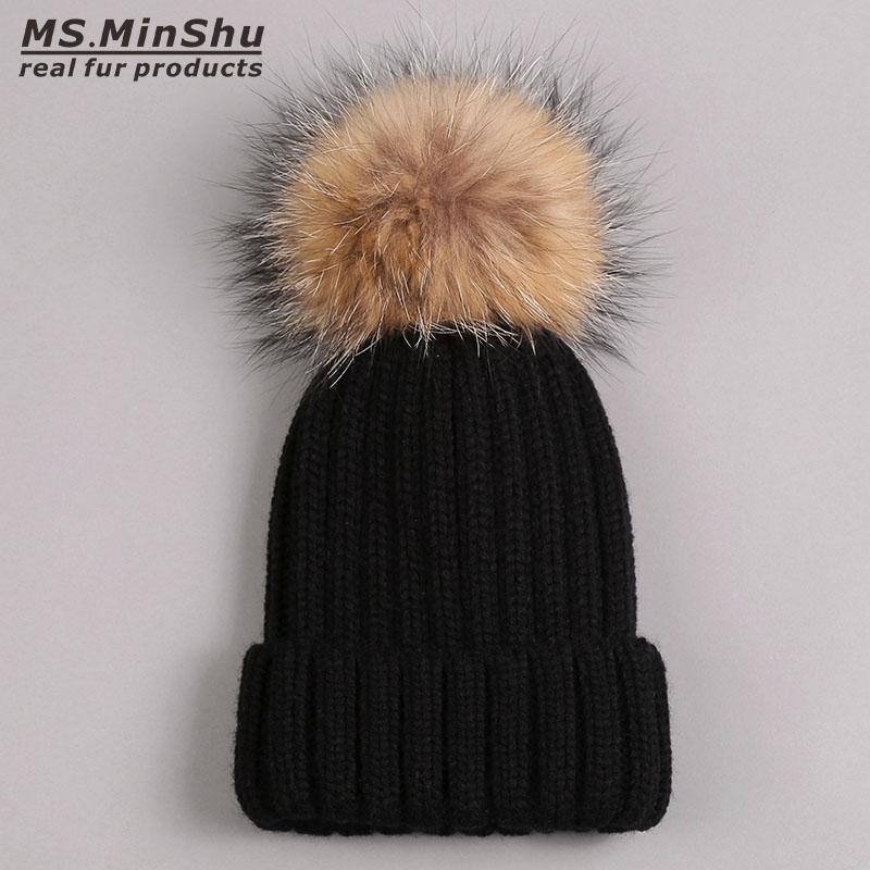 Unisex Adult Knit Bobble Hat Raccoon Fur Pom Poms Cap Thicken Winter Hat  With Real Fur Pompom Ball Raccoon Fox Fur Ball Cap Women Beanjes 59fifty  Snapback ... 880e99e8b47d