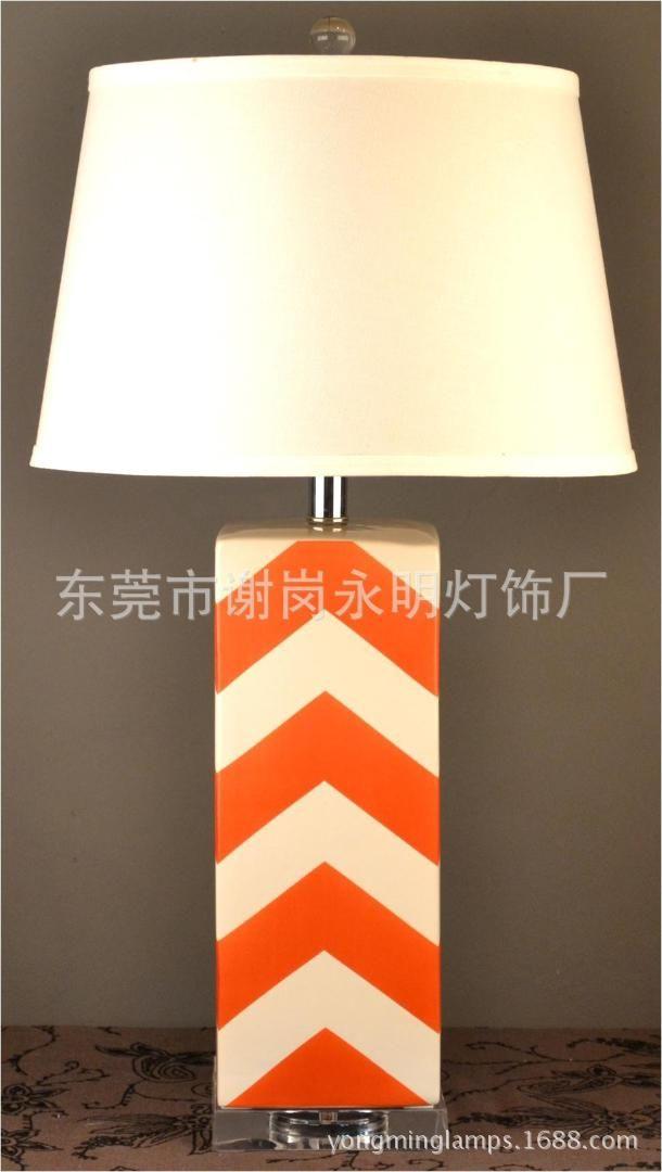 2019 Tuda 35x68cm Creative Striped Orange Ceramic Table Lamp