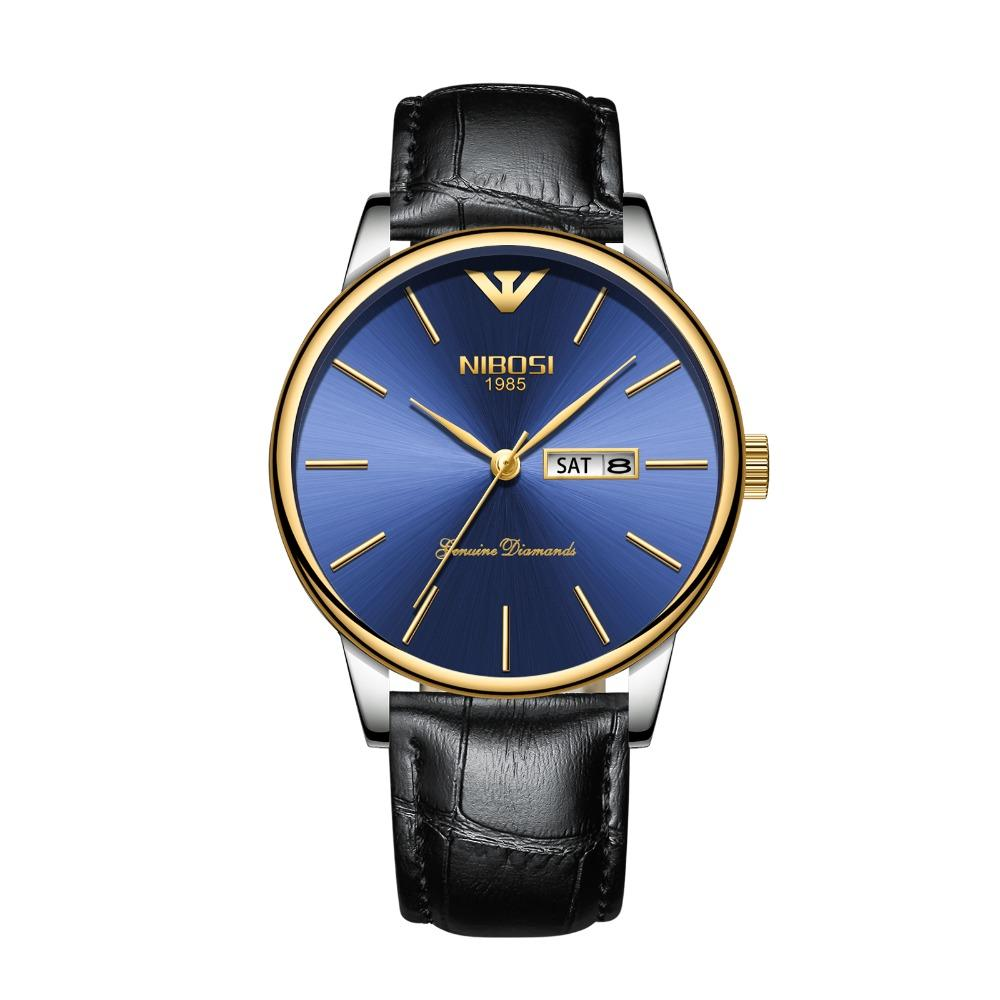 588fdcbf2d18 Compre Nibosi Men Watches Luxury Luxury Casual Business Dress Swiss Watch  Simple Classic Relojes Cuero Dorado A  26.49 Del Haihuanghe