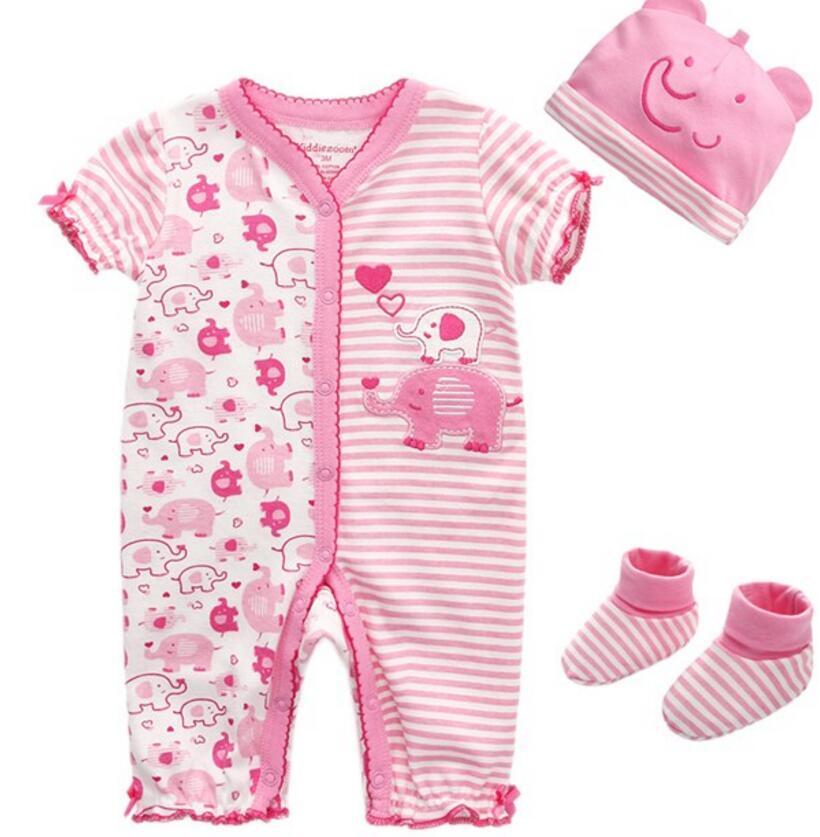 e304f0df7cb70 100% COTTON Baby Clothes Infant Short Sleeve Romper Socks Hat Jumpsuits