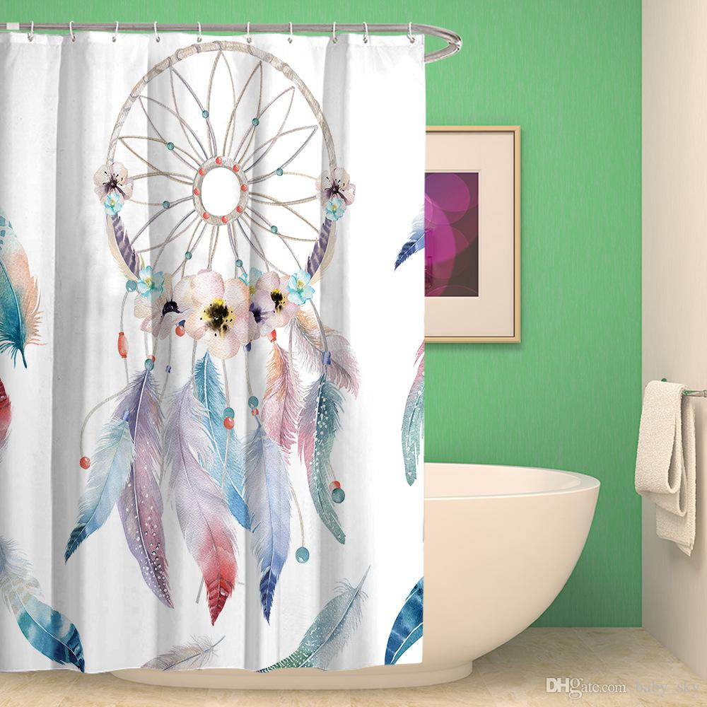 2019 Fashion Dreamcatcher Shower Curtain Classic Dream Net Print Polyester Waterproof Bath European Mix Style Christmas Gift From Baby Sky