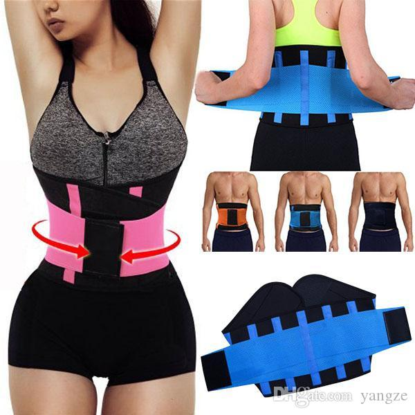 52a59e081c298 2019 Women Men Adjustable Waist Trainer Trimmer Belt Fitness Body Shaper  Back Support For An Hourglass Shaper Black Pink Green Blue Yellow Mk63 From  Yangze