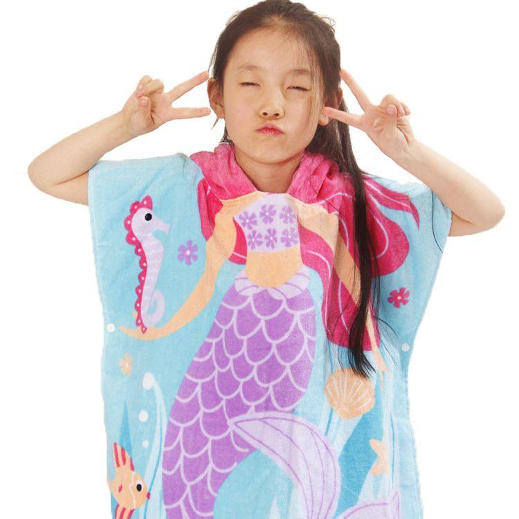 11 أنماط حورية البحر القرش البشكير الأطفال الجلباب الكرتون الحيوان ثوب النوم الأطفال مناشف حمام مقنعين C4243