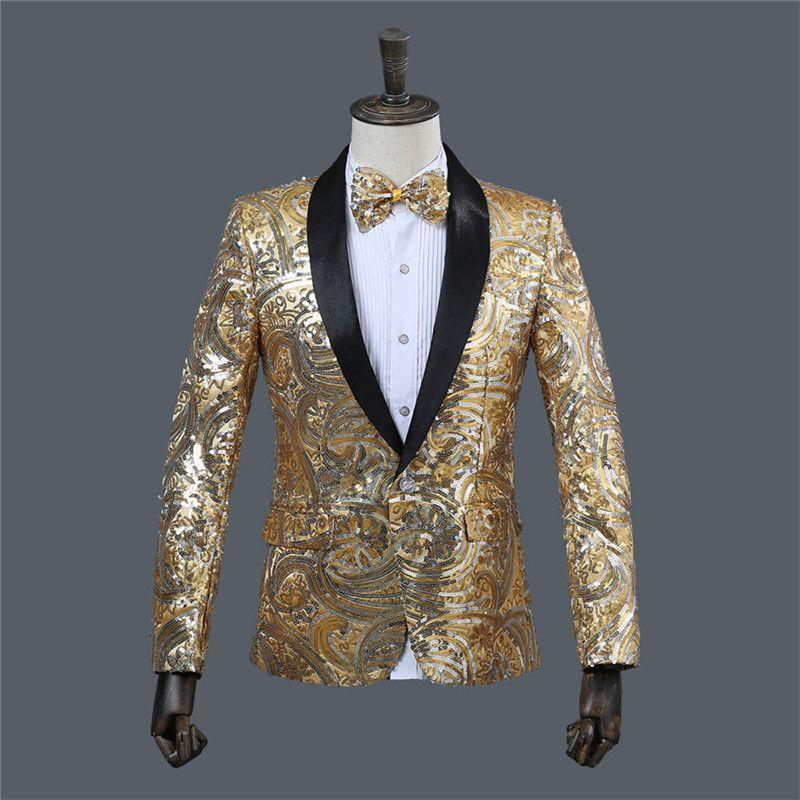 9420f5fe2 Deluxe Men s Gold Sequin Jacket Costume Pink Pattern Men Sequin Blazer Mens  Stage Wear Tuxedo Men Blazers