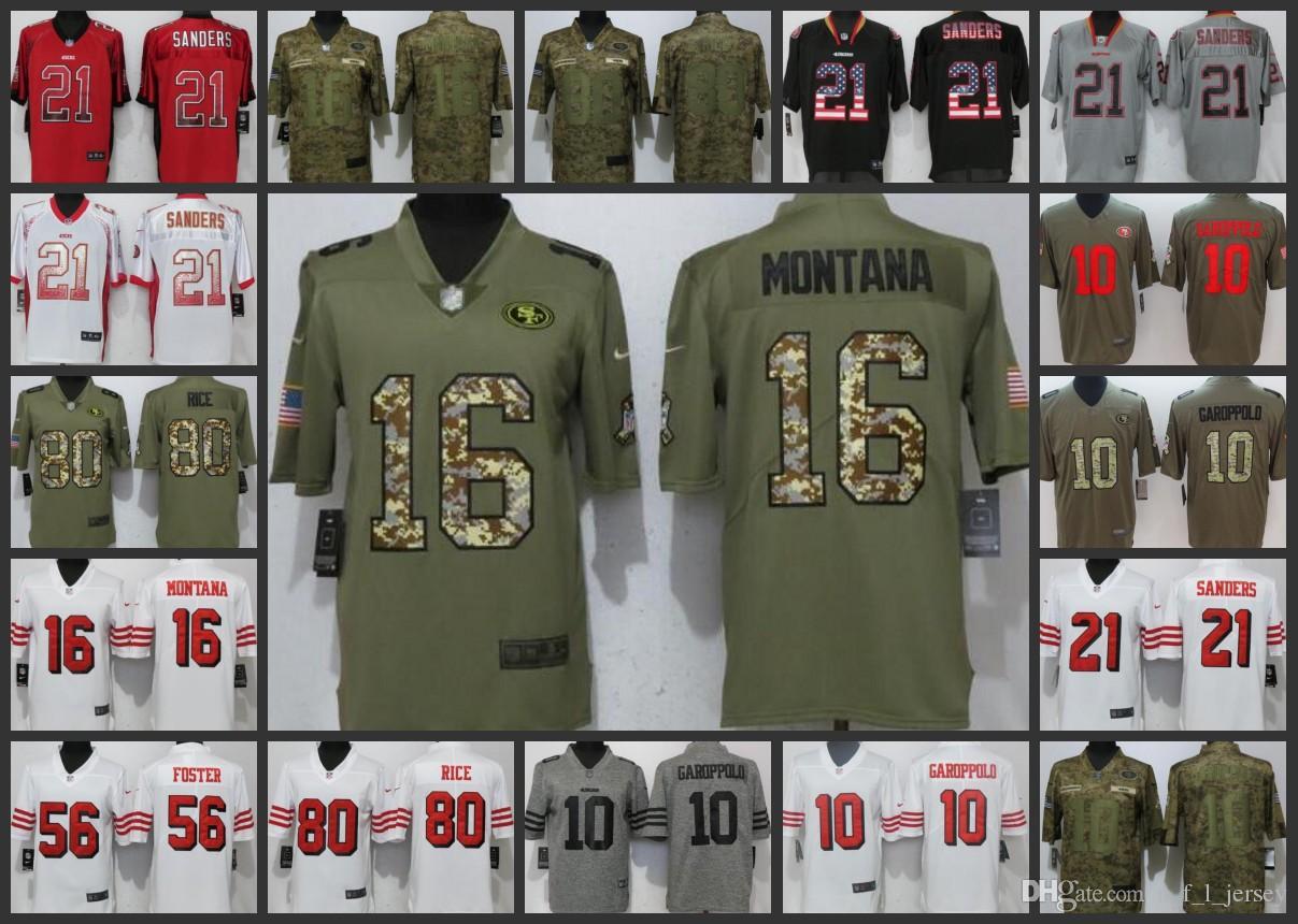 Cheap San Francisco Embroidery 49ers Man Jersey  10 Jimmy Garoppolo 16 Joe  Montana 80 Jerry Rice 21 Deion Sanders Women Youth Football Jerseys 3df9a1d23