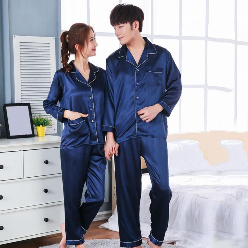 2019 Women Men Casual Design Soft Satin Material Silk Satin Pajama Sets  Long Sleeve Sleepwear Couple Casual Homewear Nightwear From Netecool 8c15f9651