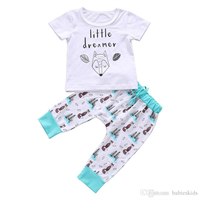 Fashion Soft Summer Newborn Kids Clothing Lovely Kids Little Dreamer Letter Fox T-shirt Tops+Pants Outfits Baby Clothing Set New 2108