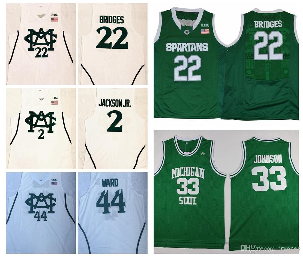 best service ae4d5 50e76 Michigan State Spartans 44 Nick Ward 2 Jaren Jackson Jr. 22 Miles Bridges  College Basketball Jerseys 33 Earvin Magic Johnson Stitched Shirts