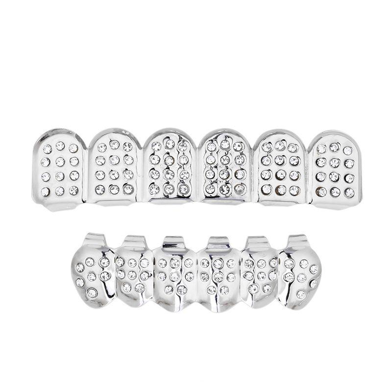 2018 Fashion Trendy Geometri Dental Grills Ethnic hipop Gun black Crystal Punk Grillz Dental Grills Man Women Body Jewelry Gifts whosale