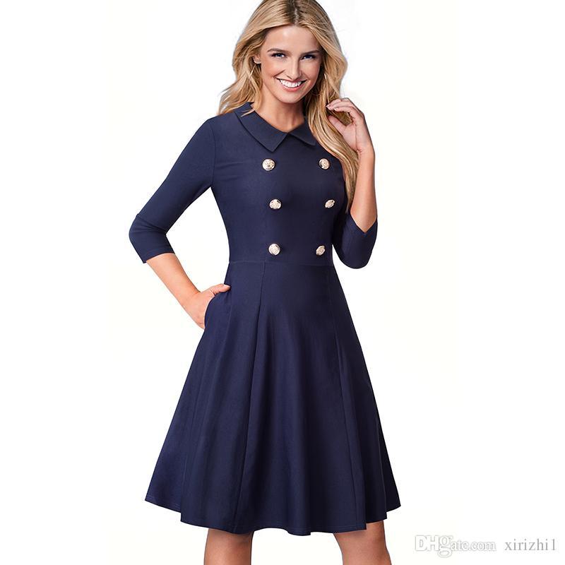 Vestido azul marino manga tres cuartos