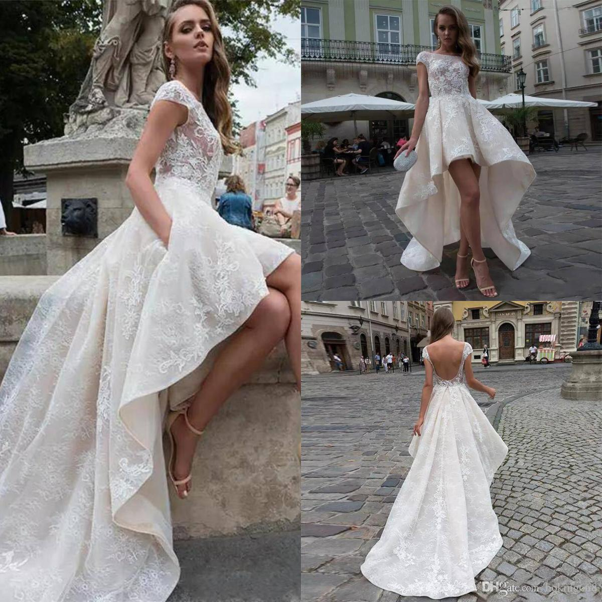 bffe5189542f5 Designer Front Short Back Long Full Lace Summer Beach Wedding Dresses Scoop  Cap Short Sleeve Country Sexy Backless Photograph Train Modest