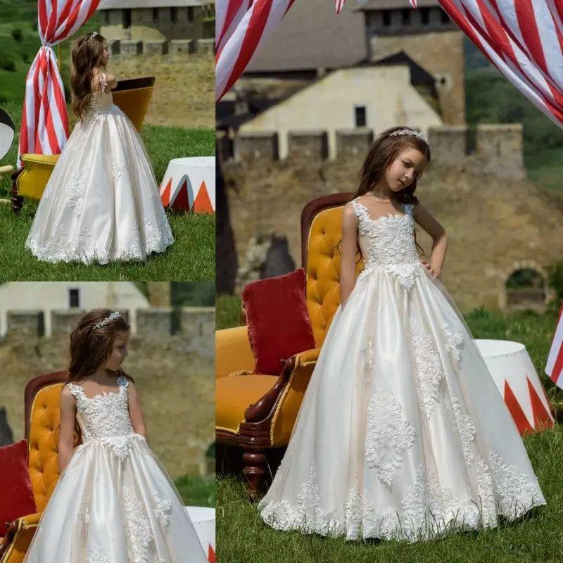 6104089bcef Cheap Korean Girls Dress Boutique Discount Modest Flower Girl Dresses  Sleeves