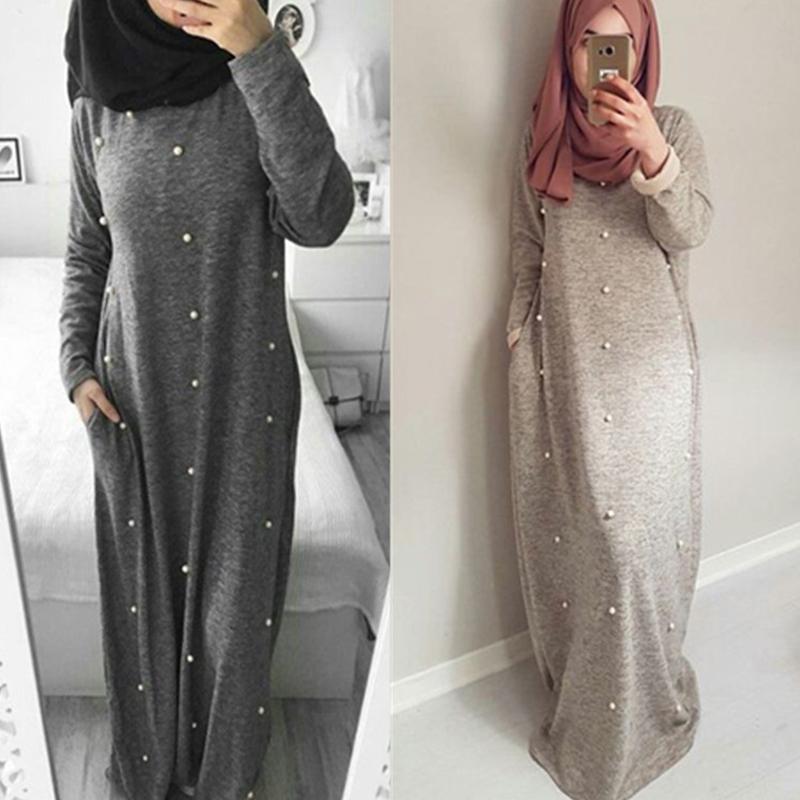 Acheter Robe Arabe 2018 Emirats Arabes Unis Abaya Dubai Kaftan Turquie  Coton Longue Perles Maxi Musulman Hijab Robe Femmes Turc Vêtements  Islamiques De