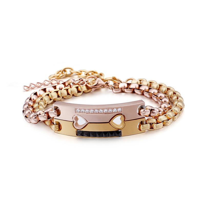d04f748ba788 Compre Juego De Pulseras Parejas De Acero Inoxidable Ajustable Oro Rosa  Corazón Pulseras Para Las Mujeres Encanto Pulseiras Femme Joyería  Personalizada A ...