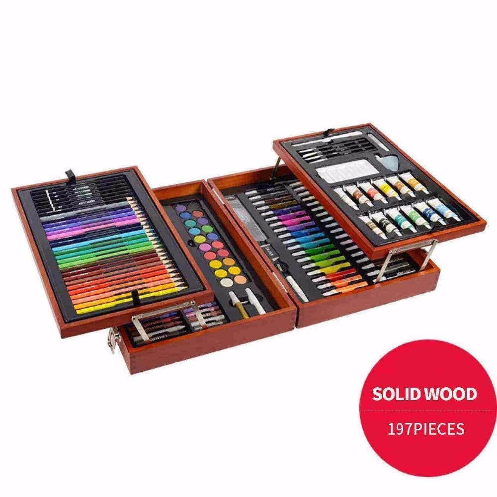 82a0d951359a Compre 197 Piecs Para Bosquejar Y Dibujar Con Estuche De Madera Crayones De  Lápiz De Color Juego De Pintura Artística Para Niños, Niños, Herramientas  De ...