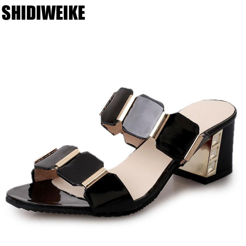 3276c00d8ea0f5 2018 Summer New Arrive Women High Heels Sandals Fashion Leather Square Heel  Metal Decoration Party Shoes Black White Flip Flops Chukka Boots Fringe  Boots ...