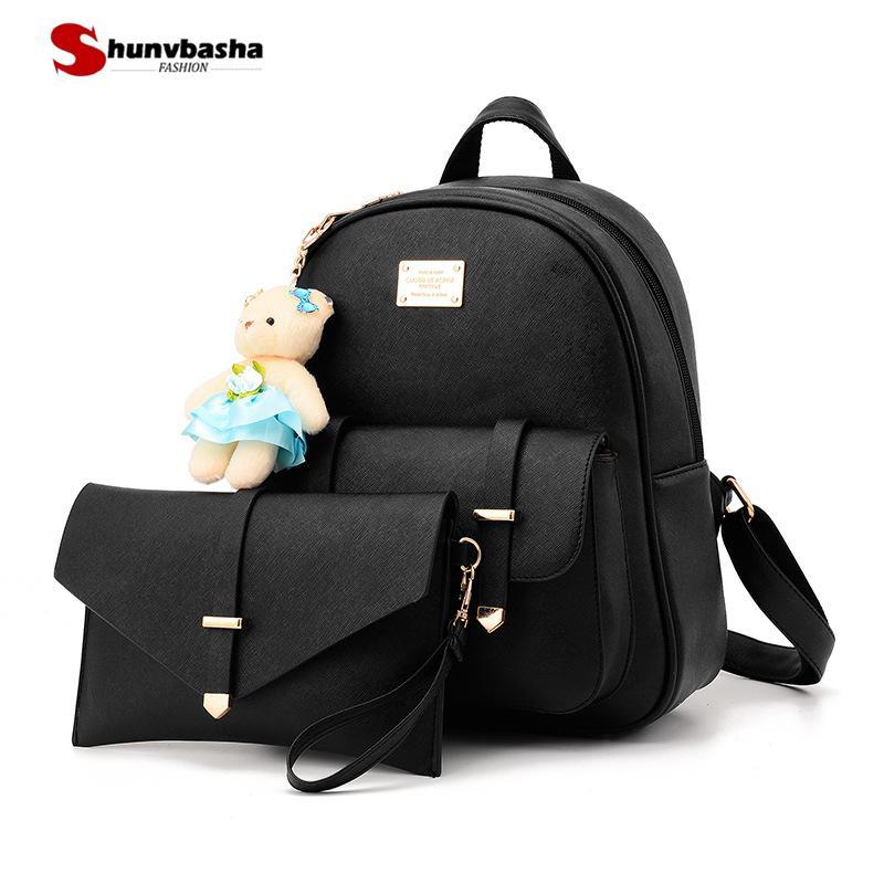 59db5dace80 Fashion Women Backpack For Girls 2018 High Quality Pu Leather Purse  Backpacks Female Fashion Girls Bags Ladies Black Backpack Drawstring  Backpack Black ...