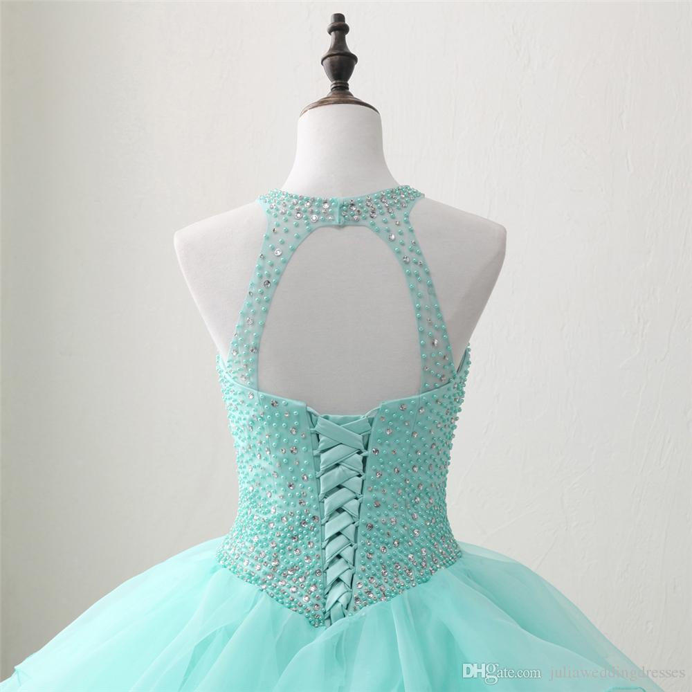 2018 New Arrived Real Photo Sexy Backless Crystal Ball Gown Quinceanera Dress with Beading Sweet 16 Dress Vestido Debutante Gowns BQ126