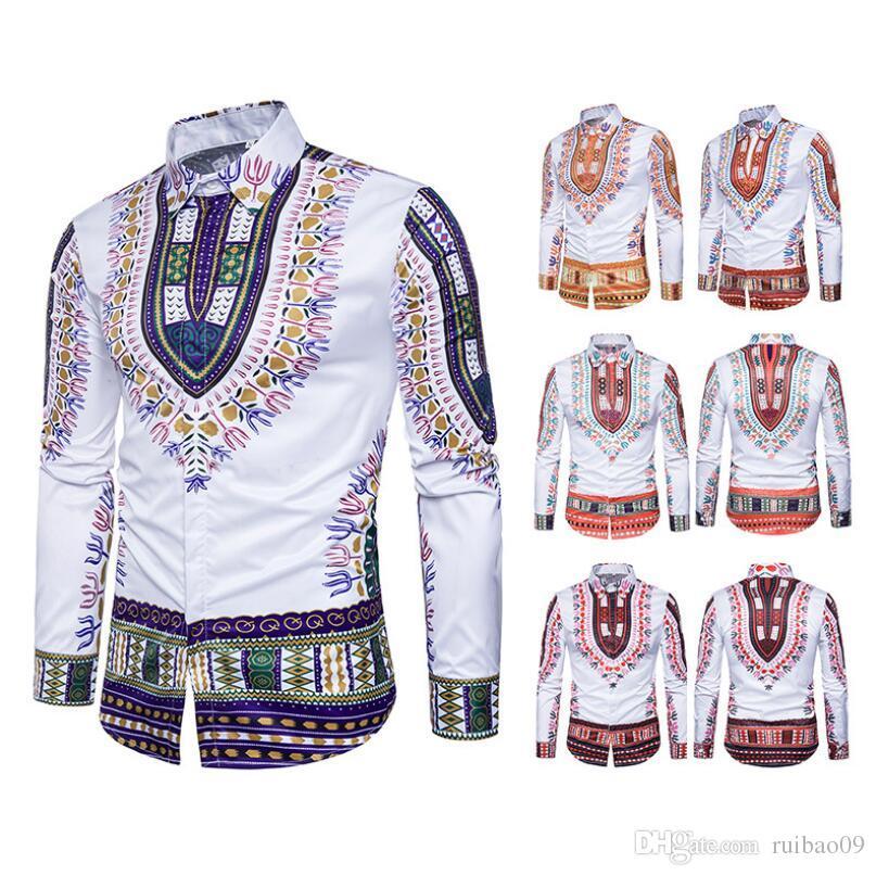 Großhandel Afrikanische Männer Traditional Dashiki Printed Slim Kleidung  Schwarz Weiß Langarm Umlegekragen Shirt Ethnische Top S 3XL HY 001 Von  Ruibao09, ... fc324d6174
