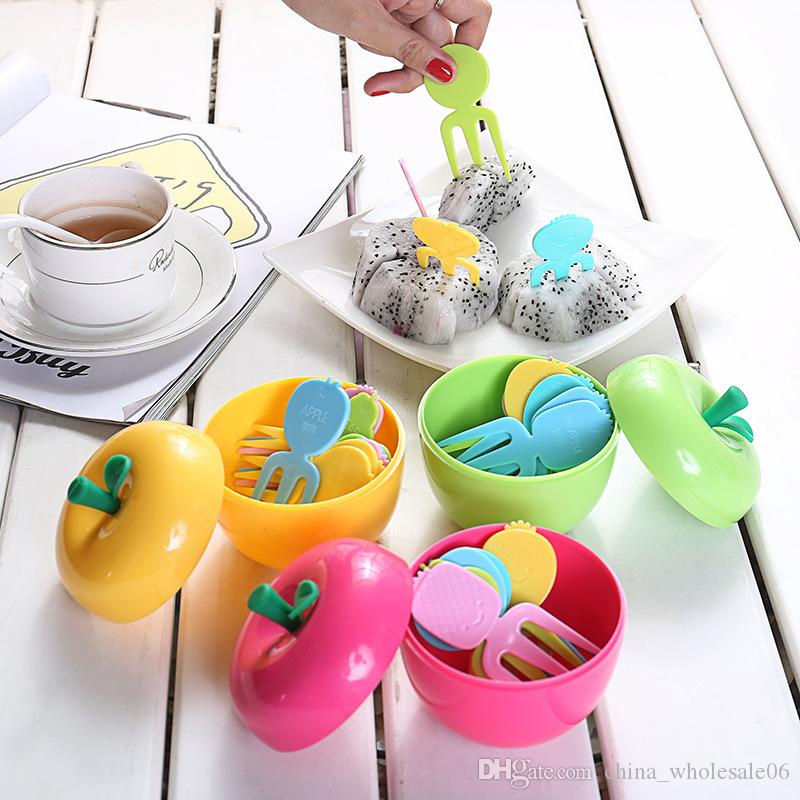 Cute Plastic Fruit Forks Set Apple Container Cake Dessert For Kids Children Eating Stickers Kitchen Accessories Artistic Accents Dinnerware Asian