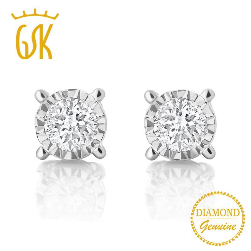 GemStoneKing IGI Certified Natural Diamond-Jewelry 0 20cttw Illusion Set  Round Diamond 10K White Gold Stud Earrings For Women