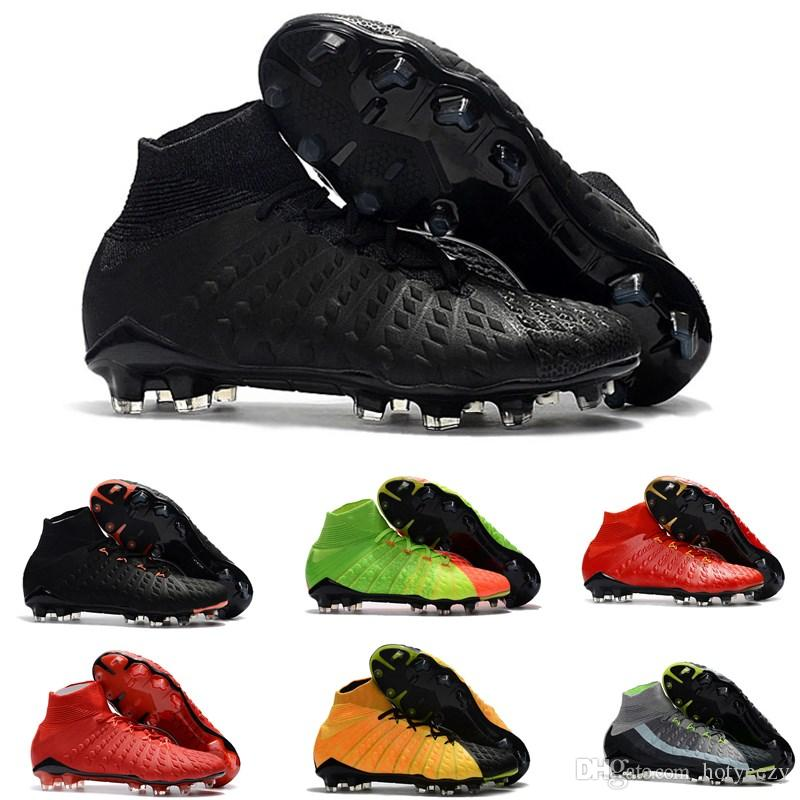 Original New High Ankle Top Football Boot Hypervenom Phantom III DF FG ACC Soccer Cleats HypervenomX Proximo TF AG Indoor Soccer Shoes Turf